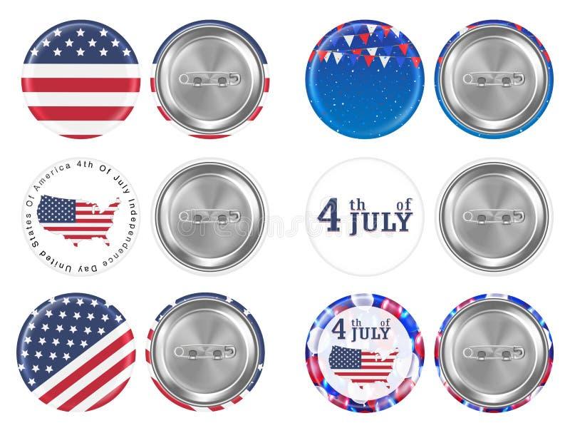 Stalowa round broszka 4th Lipiec i America chorągwiany temat ilustracja wektor