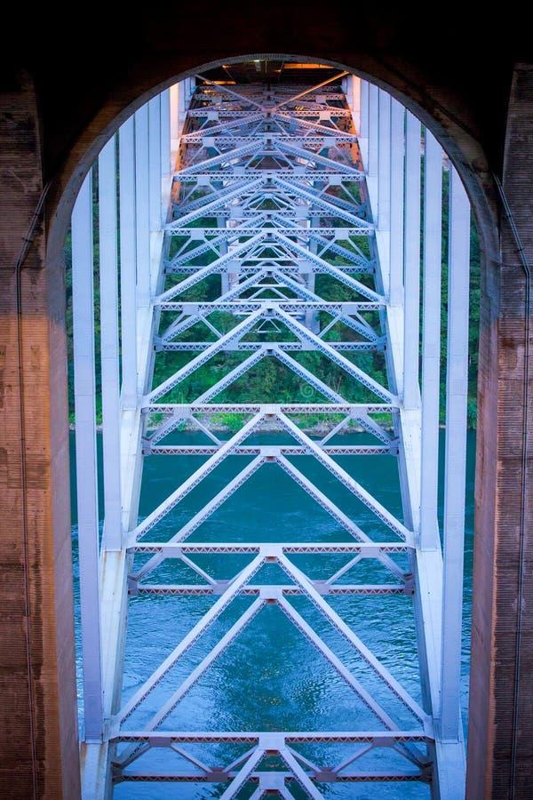 Stalowa struktura tęcza most w Niagara Spada obrazy stock