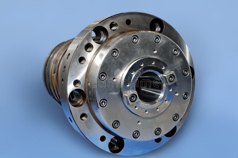 Stalowe części dla przemysłowej maszynerii round kształta Błękitny tonowanie zdjęcia stock