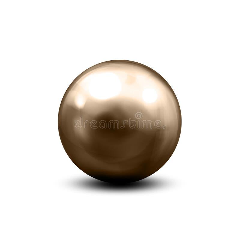 Stalowe piłki z cieniami spod spodu Kruszcowa błyszcząca sfera z różnorodnymi lekkimi odbiciami na chrom powierzchni – wektor royalty ilustracja