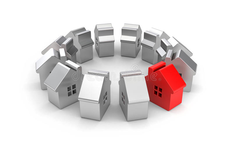 Stalowe postacie domy jeden z czego czerwień ilustracja wektor