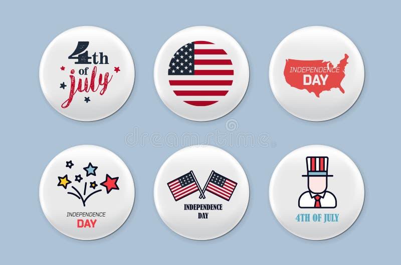 Stalowe round odznaki ustawiać Patriotyczna broszka 4 Lipca Dzień Niepodległości America Realistyczny mockup ilustracja wektor