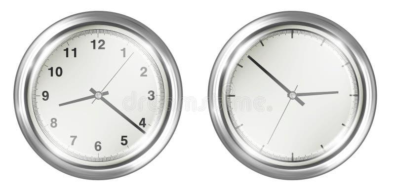 Stalowego rocznika ścienny zegar na białym tle ilustracji