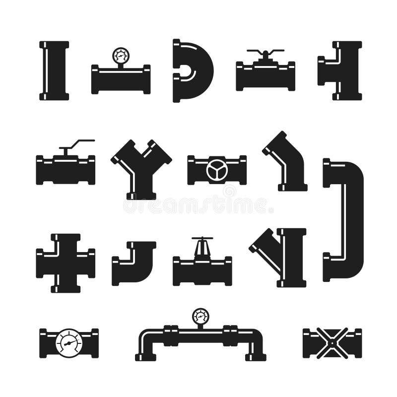 Stalowej drymby włącznik, dopasowania, klapy, przemysłowa instalacja wodnokanalizacyjna dla wody i gazociąg wektor, odizolowywali ilustracja wektor