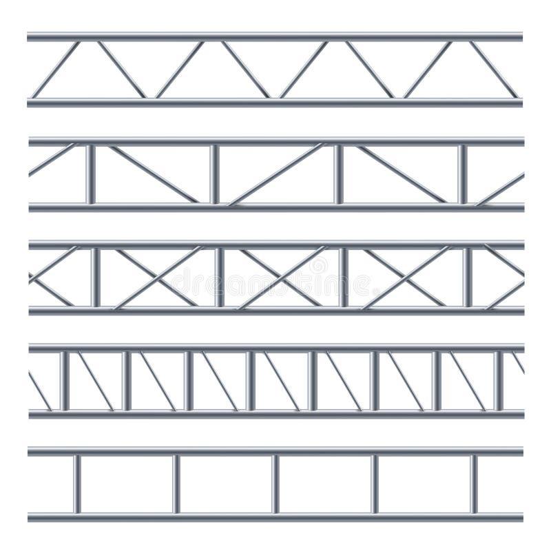 Stalowej kratownicowej stropnicy bezszwowy wzór na bielu ilustracja wektor