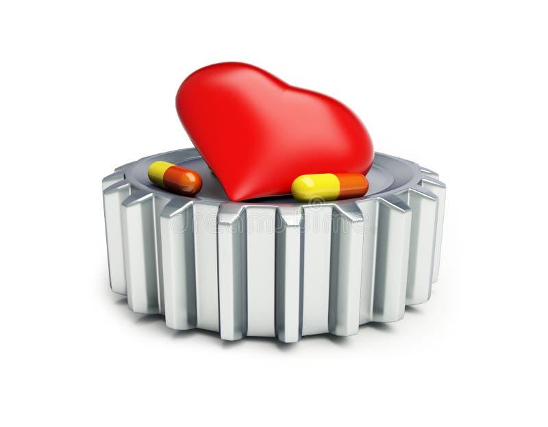 Stalowi cogwheels, czerwony serce i pigułki na białej tła 3D ilustracji ilustracja wektor