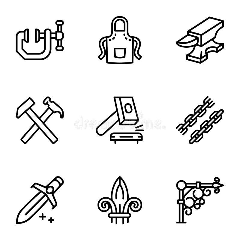 Stalowy blacksmith przedmiota ikony set, konturu styl royalty ilustracja