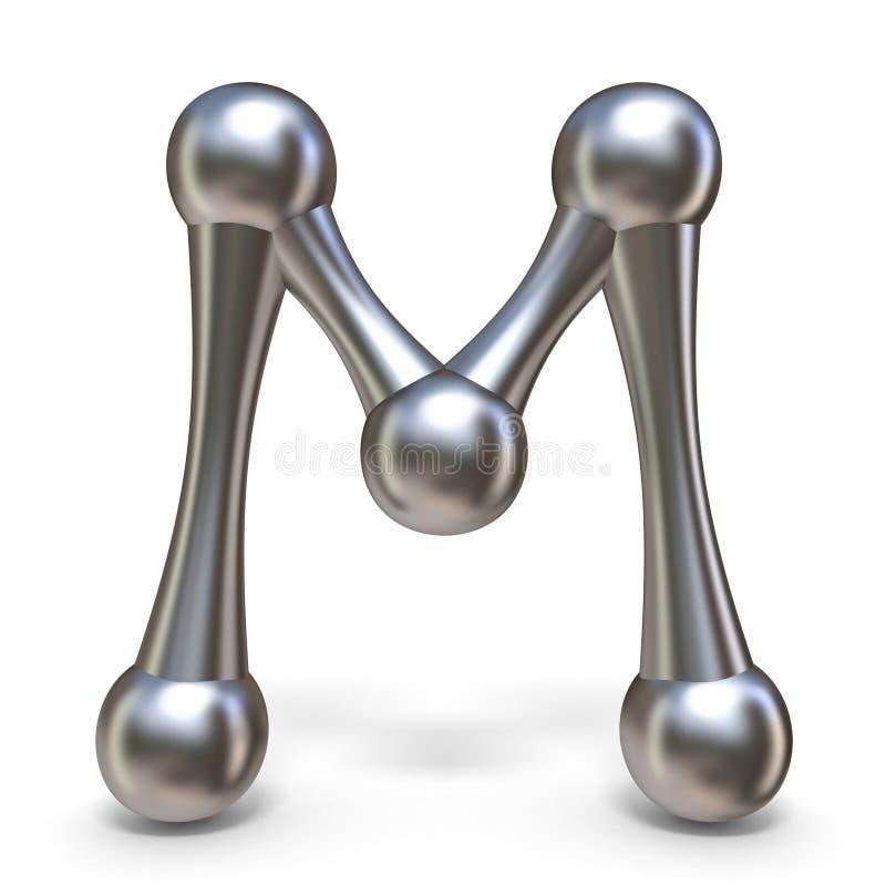 Stalowy cząsteczkowy chrzcielnica list M 3D royalty ilustracja