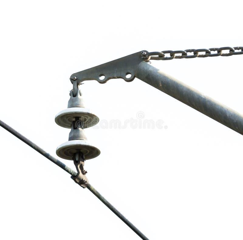Stalowy kabla drutu włącznik z filiżanką kształtował prętowego właściciela, odizolowywającego na białym tle zdjęcia stock