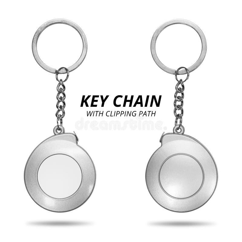 Stalowy kluczowy łańcuch odizolowywający na białym tle Pusty kluczowy pierścionek w pomiarowym taśmy pojęciu ?cinek ?cie?ka zdjęcie stock