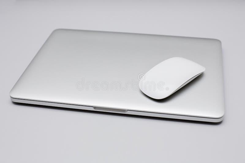 Stalowy laptop obraz stock