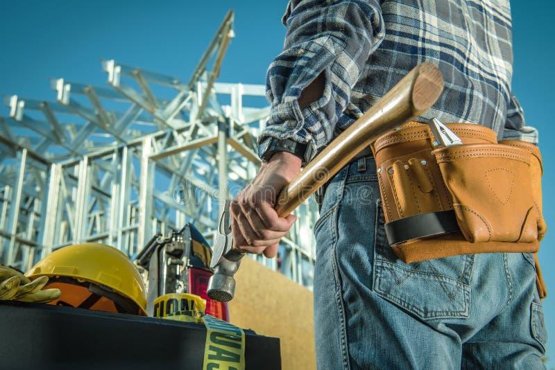 Stalowy pracownik budowlany obraz royalty free