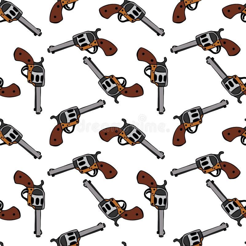 Stalowy rewolwerowy pociągany ręcznie z brown rękojeścią ilustracji