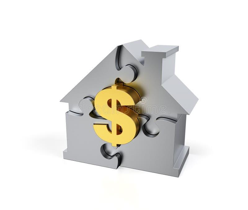 Stalowy wyrzynarki łamigłówki dom z złotym dolarowym znakiem ilustracja wektor