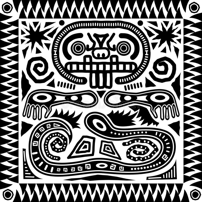 stam- aztec tegelplatta royaltyfri illustrationer