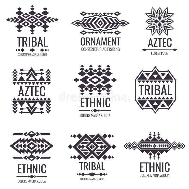 Stam- aztec vektormodell Indiska diagram för tatueringdesigner royaltyfri illustrationer