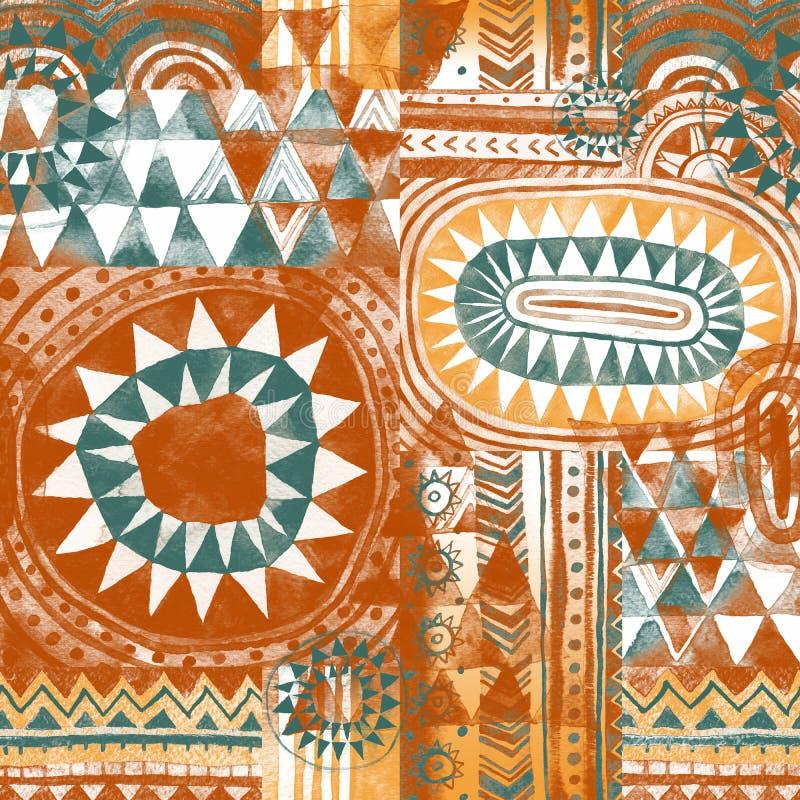 Stam- bohemisk patchworkseamsessmodell royaltyfri illustrationer