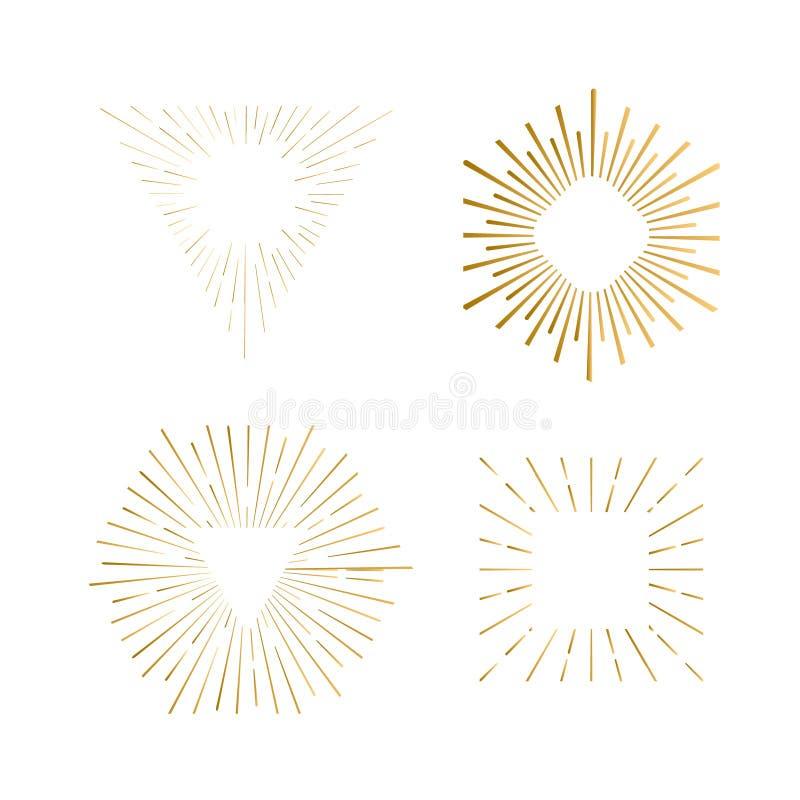 Stam- bohosunburstramar med stället för din text Den guld- gnistrandehipsterlogoen, vektorlinjen fyrverkeri formar stock illustrationer