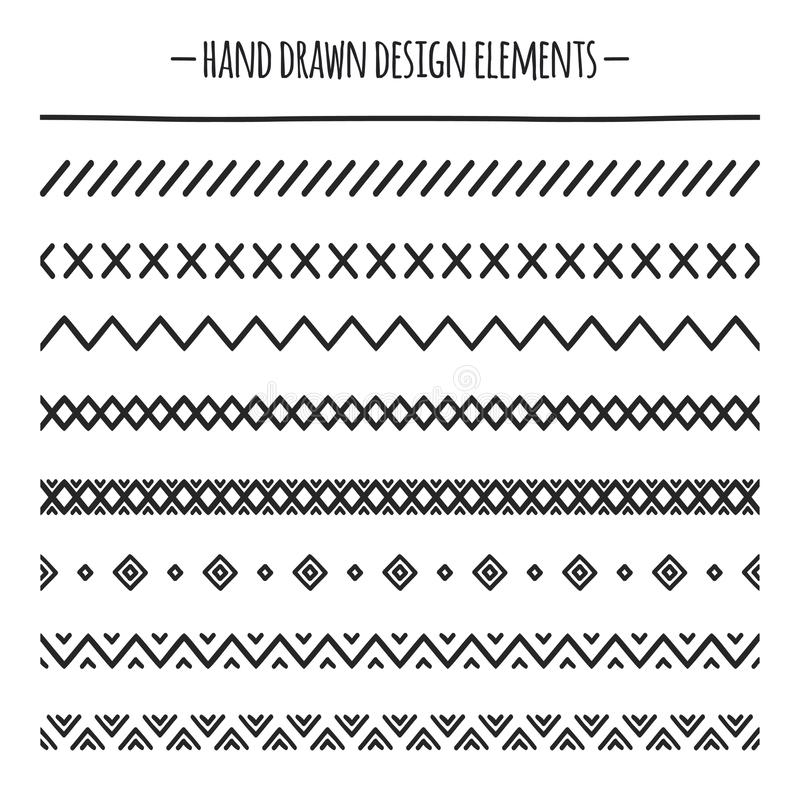 Stam- borstar kant Etnisk hand dragen vektorlinje gränsuppsättning vektor för bild för designelementillustration Infödda borstar  vektor illustrationer