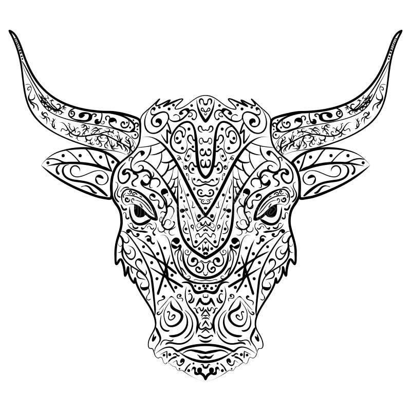 Stam- dekorativ tjur för vektor Isolerat djur på bakgrund Zentangle stil royaltyfri illustrationer