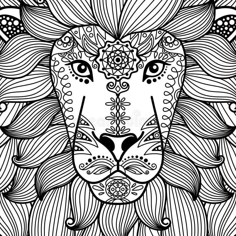 Stam- dekorativt lejonhuvud vektor illustrationer