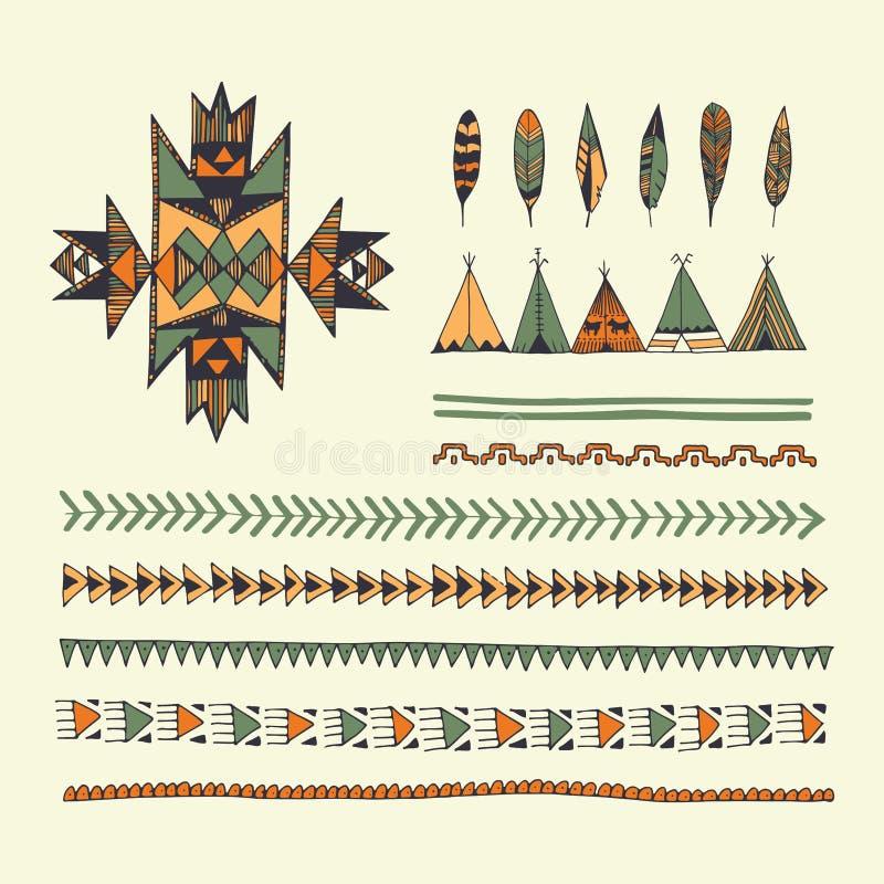 Stam- dragen uppsättning för indian hand av symboler och designelem royaltyfri illustrationer
