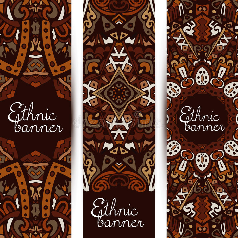 Stam- etnisk modell för baneruppsättningprydnad stock illustrationer
