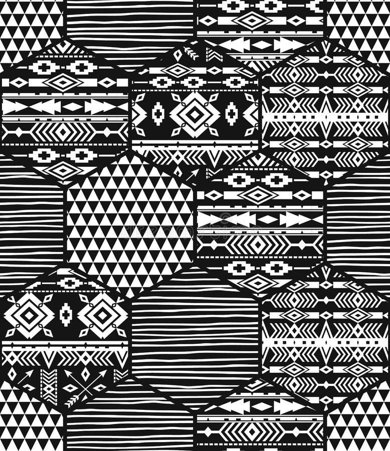 Stam- etnisk sömlös modell med geometriska sexhörningsbeståndsdelar vektor illustrationer