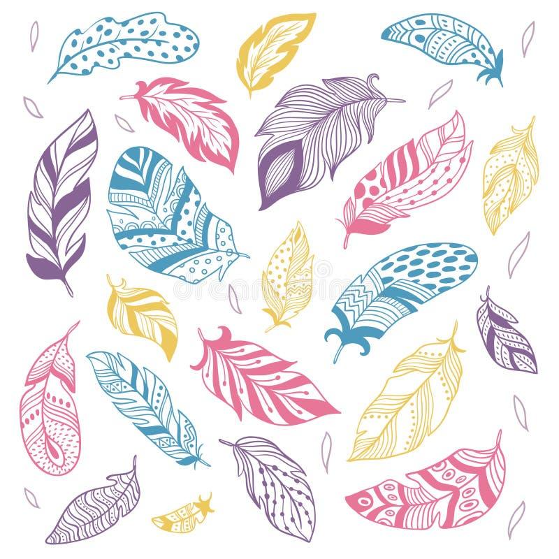 Stam- fjädrar Etnisk fjäderkontur, fåglar som befjädrar, och för vektorillustration för hand utdragen penna isolerad uppsättning stock illustrationer