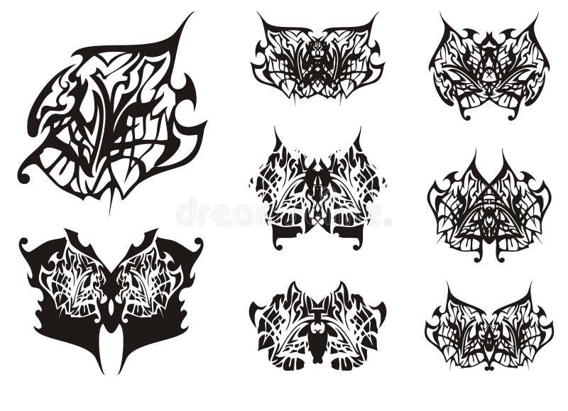 Stam- fjärilsvingtatuering i svartvita signaler royaltyfri illustrationer