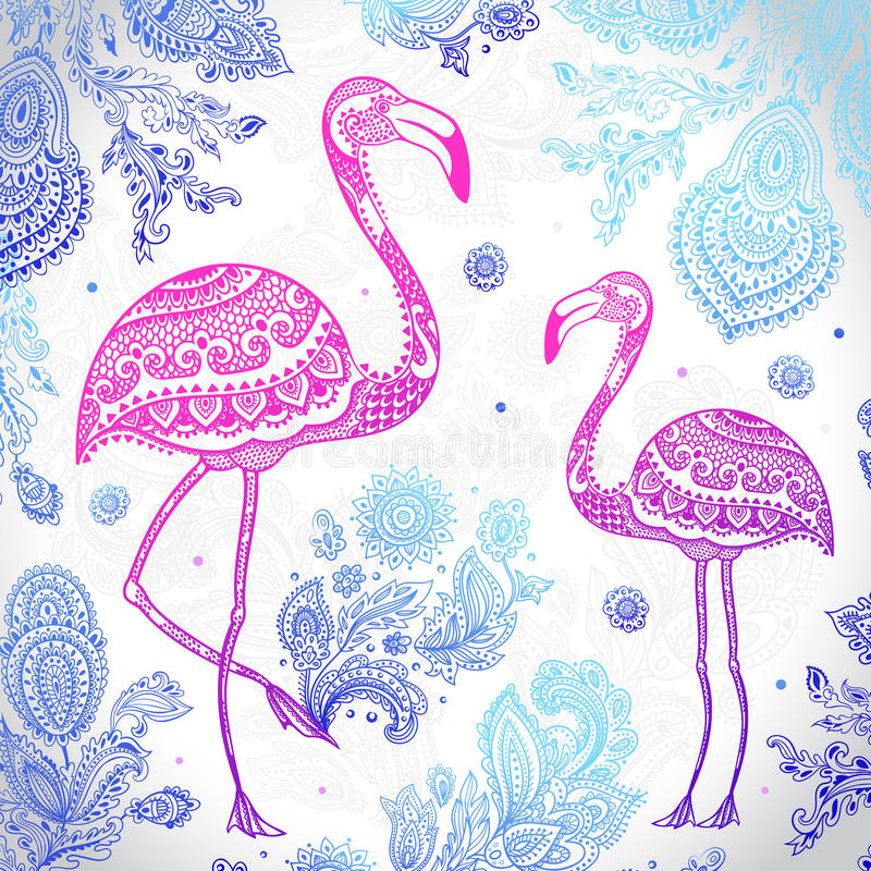Stam- flamingofågel för vektor med etniska prydnader vektor illustrationer