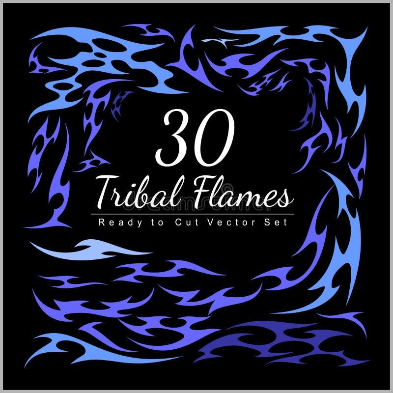 30 stam- flammor - varma Rod Flames stock illustrationer