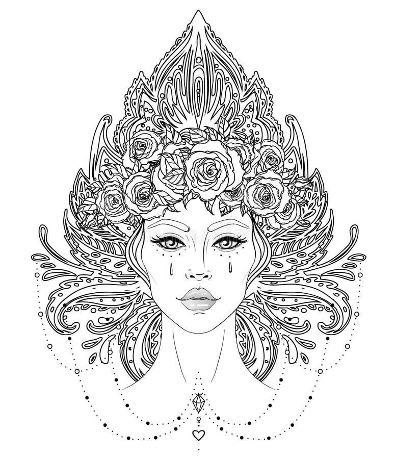 Stam- fusionBoho Diva Härlig asiatprästflicka med den utsmyckade kronan, inspirerad kokoshnik Bohemisk gudinna Utdraget elegant f royaltyfri fotografi