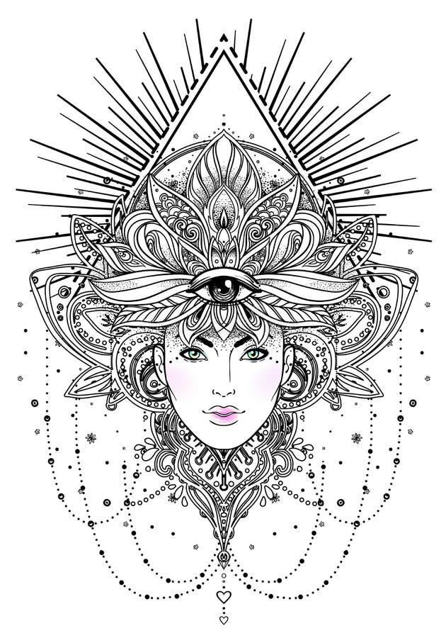 Stam- fusionBoho Diva Härlig asiatprästflicka med utsmyckat royaltyfri illustrationer
