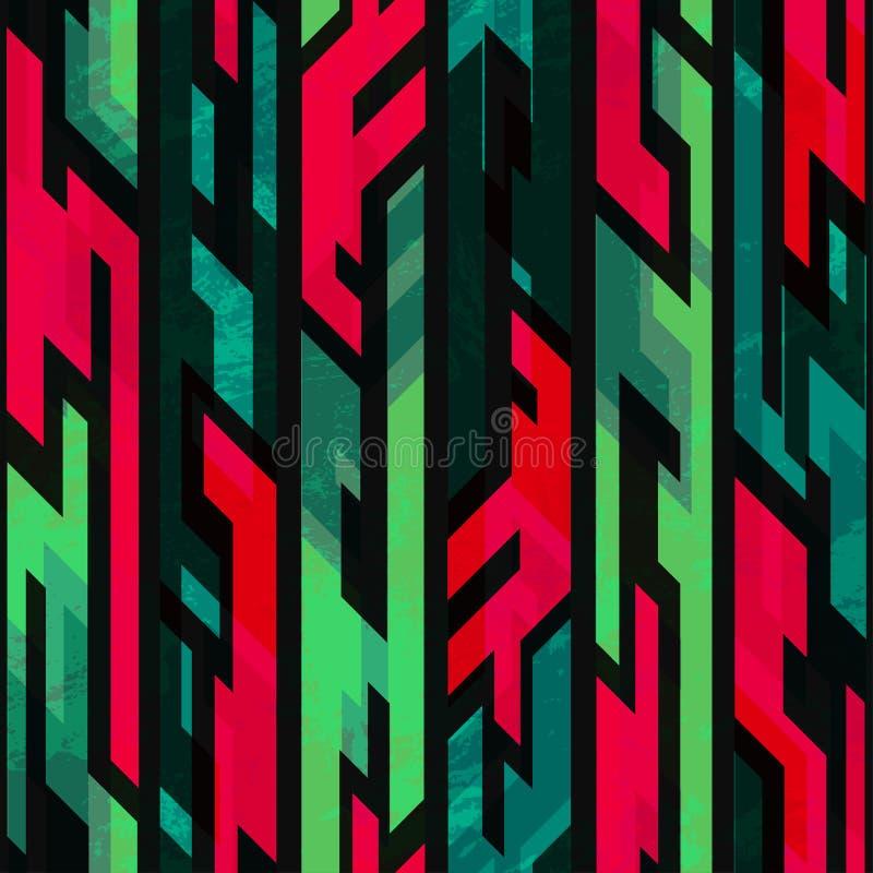 Stam- geometrisk sömlös modell med grungeeffekt royaltyfri illustrationer