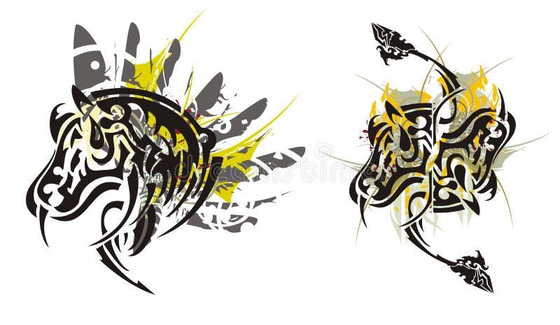 Stam- hästfärgstänk stock illustrationer
