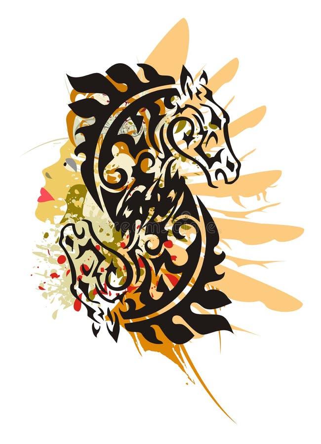 Stam- hästsymbol för Grunge royaltyfri illustrationer