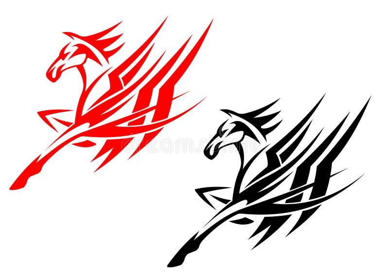 stam- hästtatuering stock illustrationer