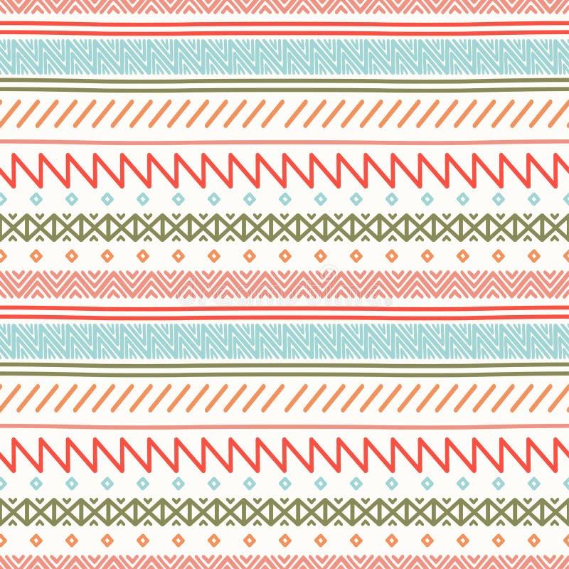 Stam- hand dragen linje geometrisk mexikansk etnisk sömlös modell kant inpackning för vektor för tema för dryckillustrationpapper royaltyfri illustrationer