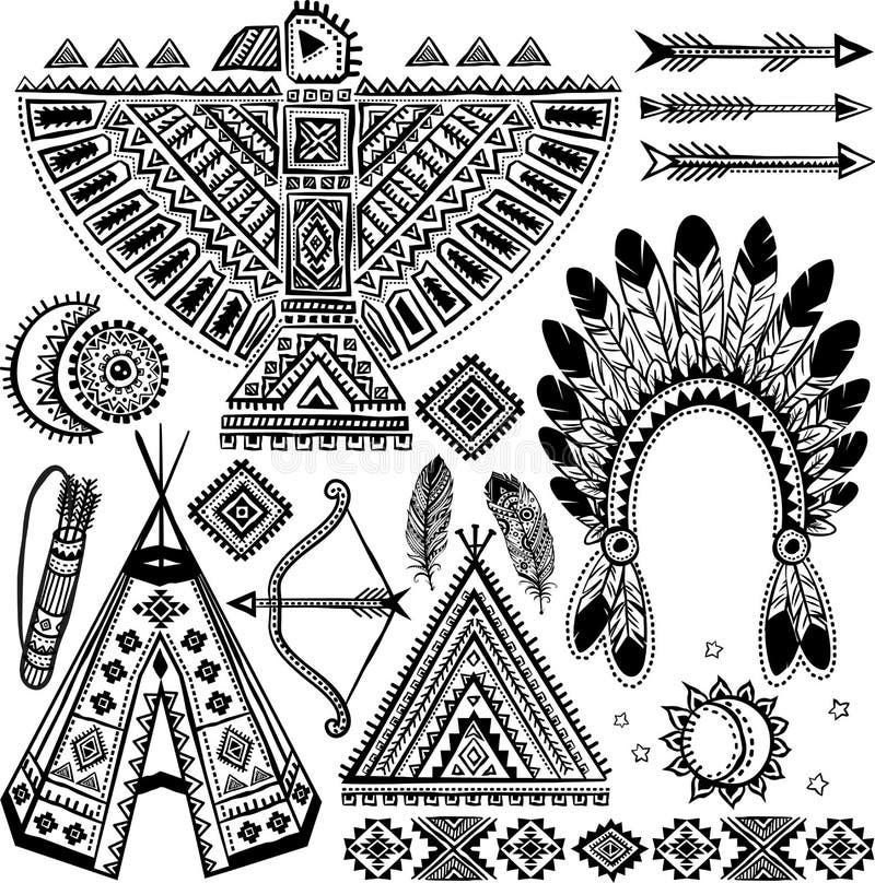 Stam- indianuppsättning av symboler stock illustrationer
