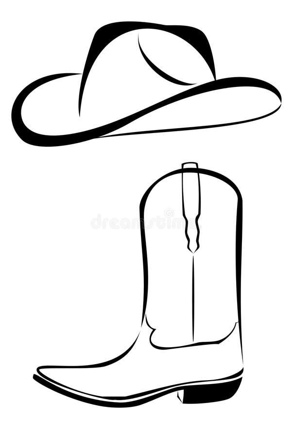 stam- kängacowboyhatt vektor illustrationer