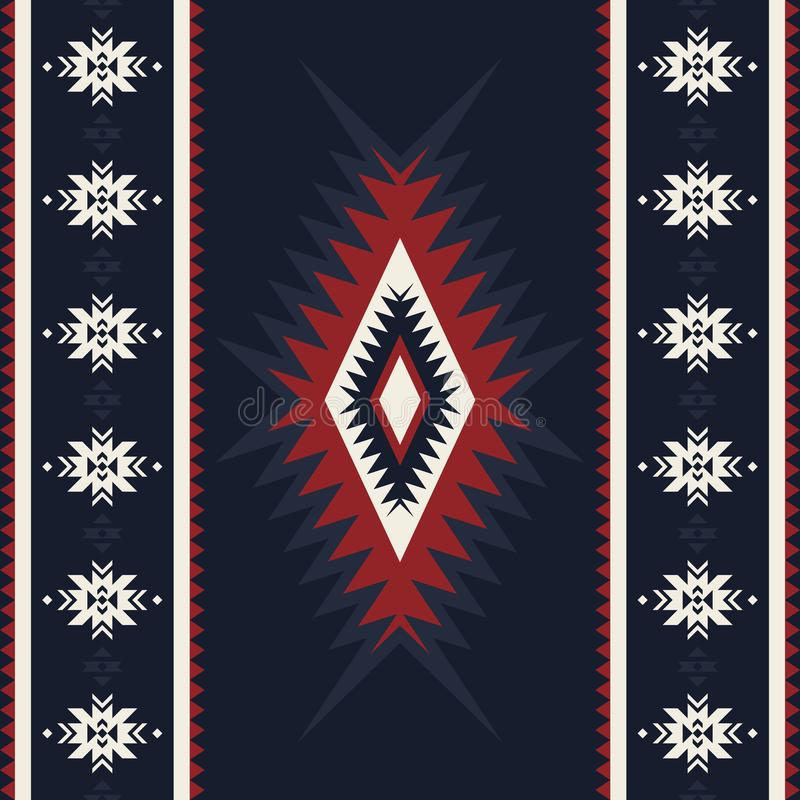 Stam- kilim, abstrakt geometrisk prydnad, etnisk sömlös patte stock illustrationer