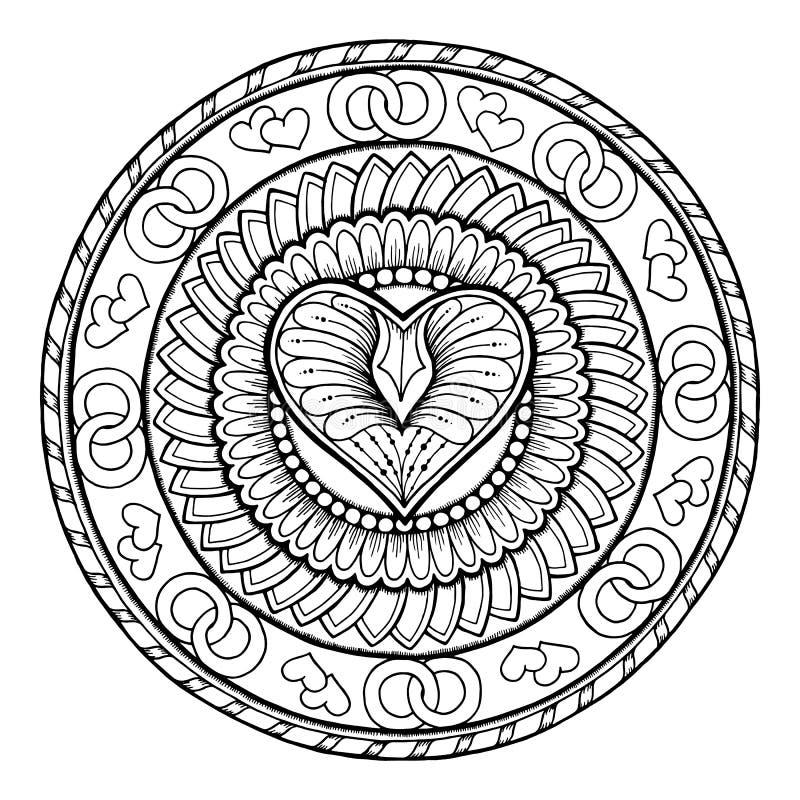 Stam- klotterprydnad för cirkel med förälskelsehjärta vektor illustrationer