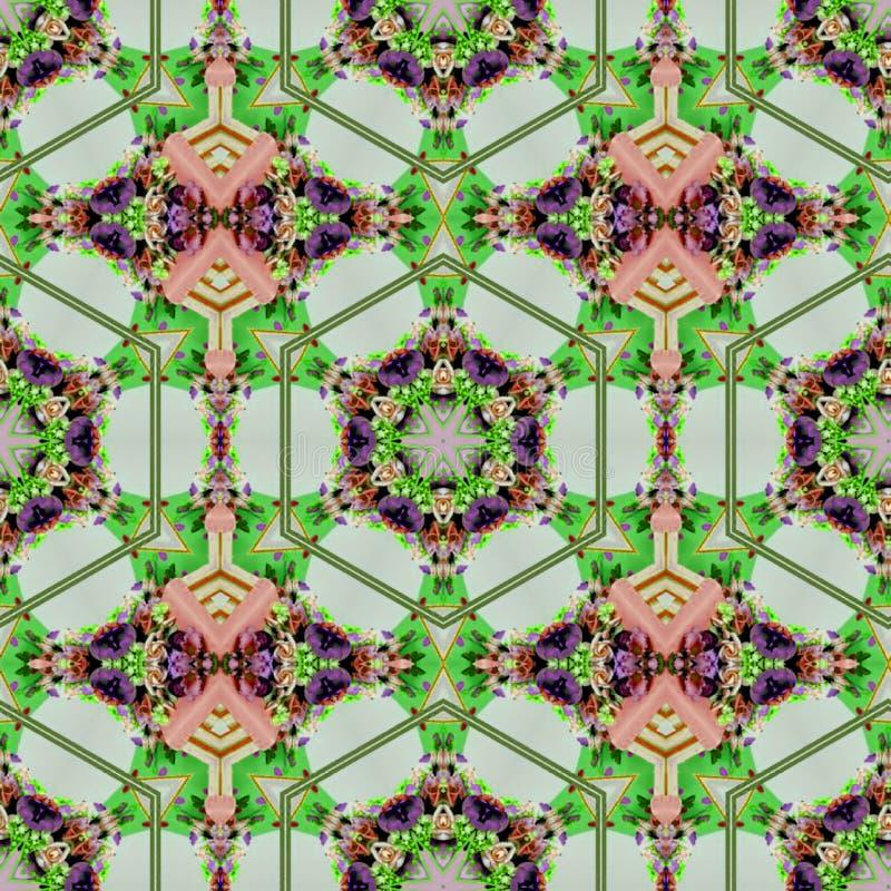 Stam- konstmodell i grönt och korall Etniskt geometriskt tryck för filt Aztec och afrikansk f?rgrik upprepande bakgrundstextur vektor illustrationer