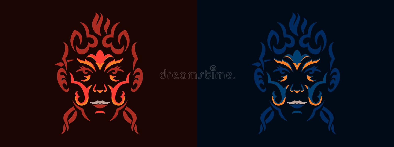 Stam- kvinnastående, kvinnaportait i stam- stilillustration i svartvitt Tatoo stilstående lek royaltyfri illustrationer