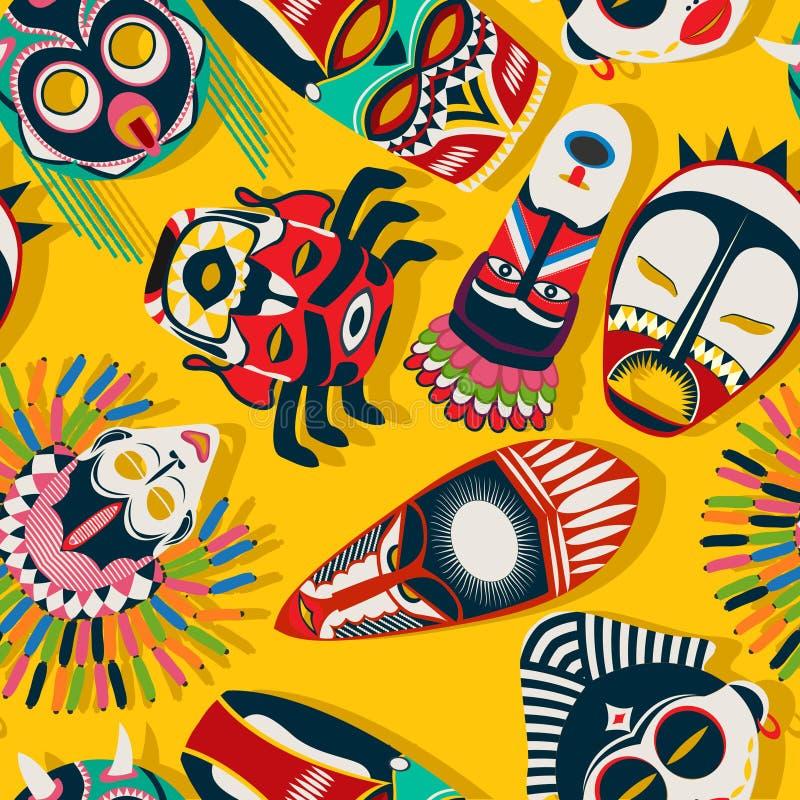 Stam- maskeringsperson som tillhör en etnisk minoritet royaltyfri illustrationer