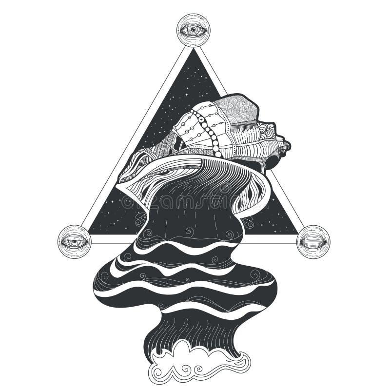 Stam- modelltatuering för vektor med flöde av vatten som flödar ut ur snäckskal och av sakral geometri stock illustrationer