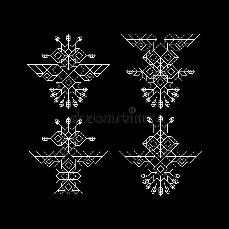 Stam- Owl Symbol Utsmyckat ugglasymbol i stam- stil Tappninggarneringbeståndsdel Linje konstdesign Calligraphic beståndsdel stock illustrationer