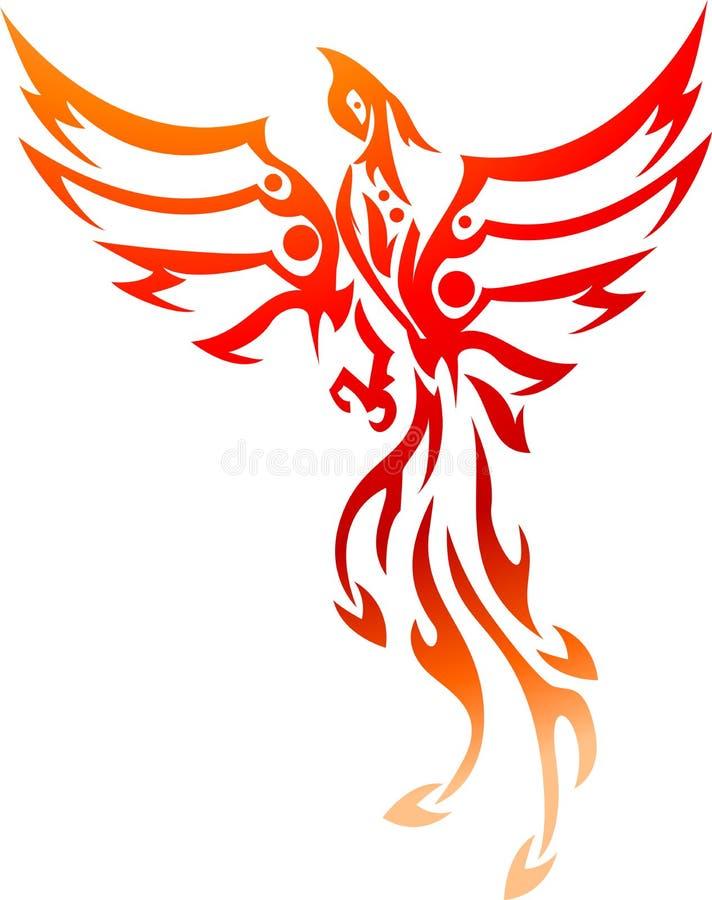 Stam- Phoenix tatuering stock illustrationer