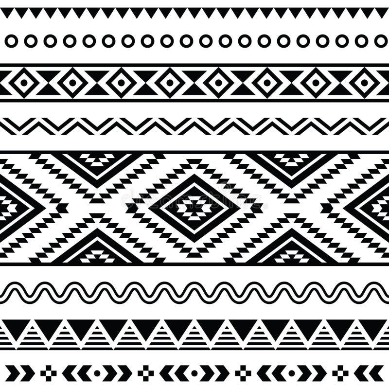 Stam- sömlös modell, aztec svartvit bakgrund vektor illustrationer